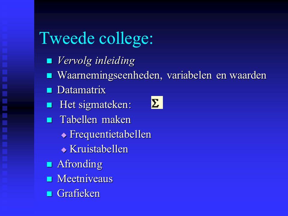 Tweede college: Vervolg inleiding Vervolg inleiding Waarnemingseenheden, variabelen en waarden Waarnemingseenheden, variabelen en waarden Datamatrix D