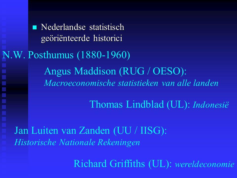 N.W. Posthumus (1880-1960) Angus Maddison (RUG / OESO): Macroeconomische statistieken van alle landen Richard Griffiths (UL): wereldeconomie Jan Luite