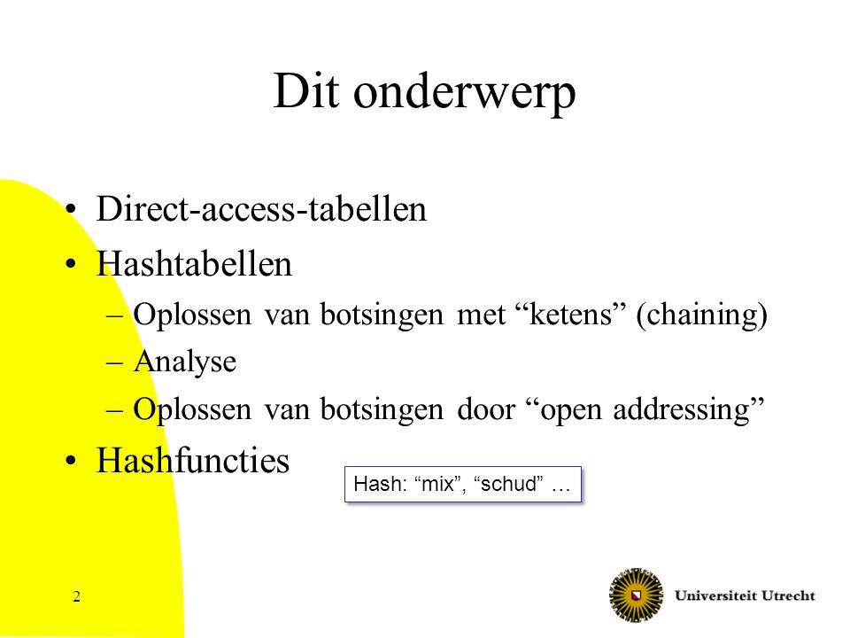 """2 Dit onderwerp Direct-access-tabellen Hashtabellen –Oplossen van botsingen met """"ketens"""" (chaining) –Analyse –Oplossen van botsingen door """"open addres"""