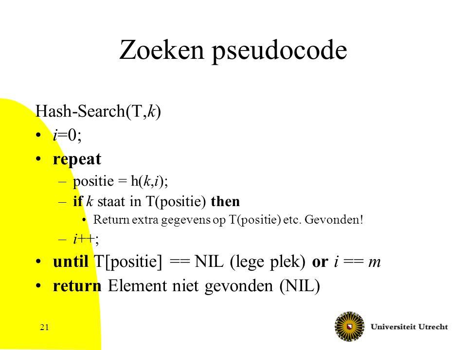 21 Zoeken pseudocode Hash-Search(T,k) i=0; repeat –positie = h(k,i); –if k staat in T(positie) then Return extra gegevens op T(positie) etc. Gevonden!