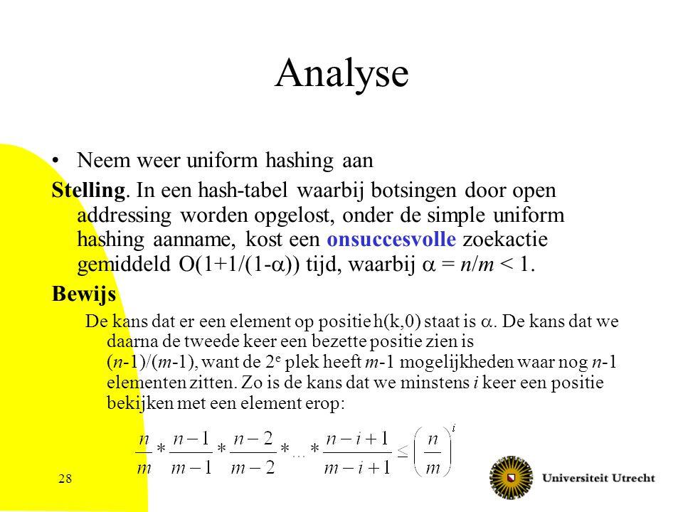 28 Analyse Neem weer uniform hashing aan Stelling. In een hash-tabel waarbij botsingen door open addressing worden opgelost, onder de simple uniform h