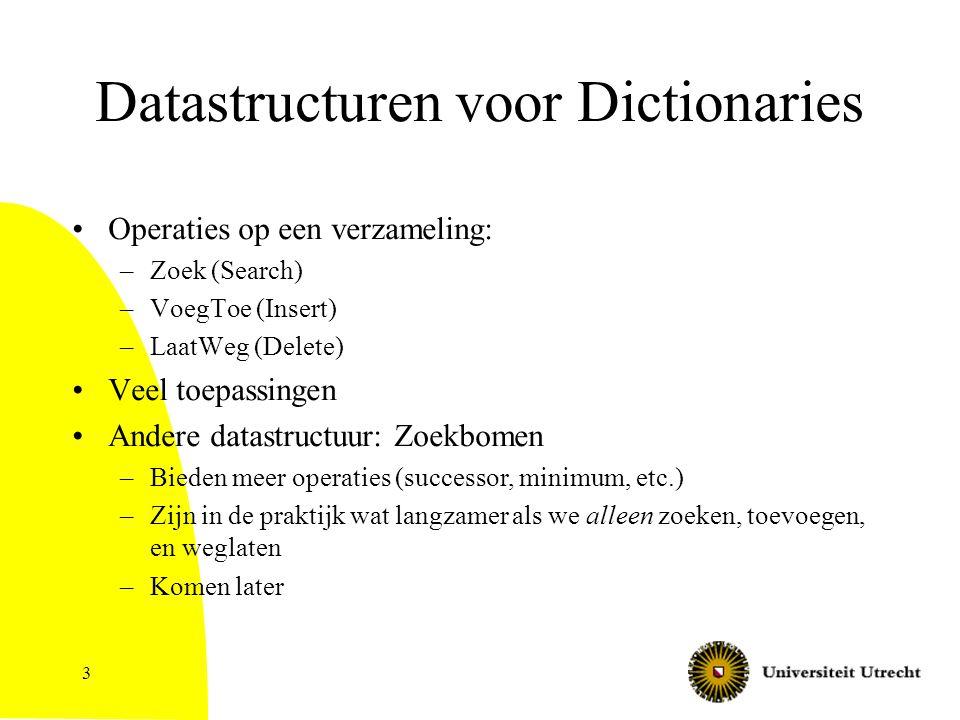 3 Datastructuren voor Dictionaries Operaties op een verzameling: –Zoek (Search) –VoegToe (Insert) –LaatWeg (Delete) Veel toepassingen Andere datastruc