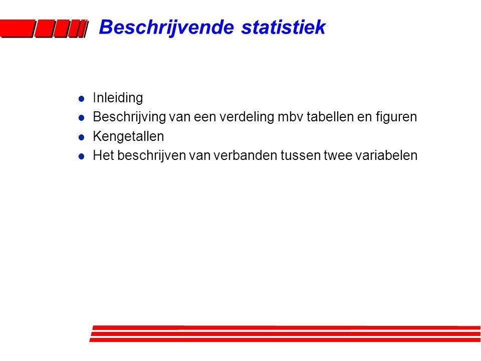 Beschrijvende statistiek l Inleiding l Beschrijving van een verdeling mbv tabellen en figuren l Kengetallen l Het beschrijven van verbanden tussen twe