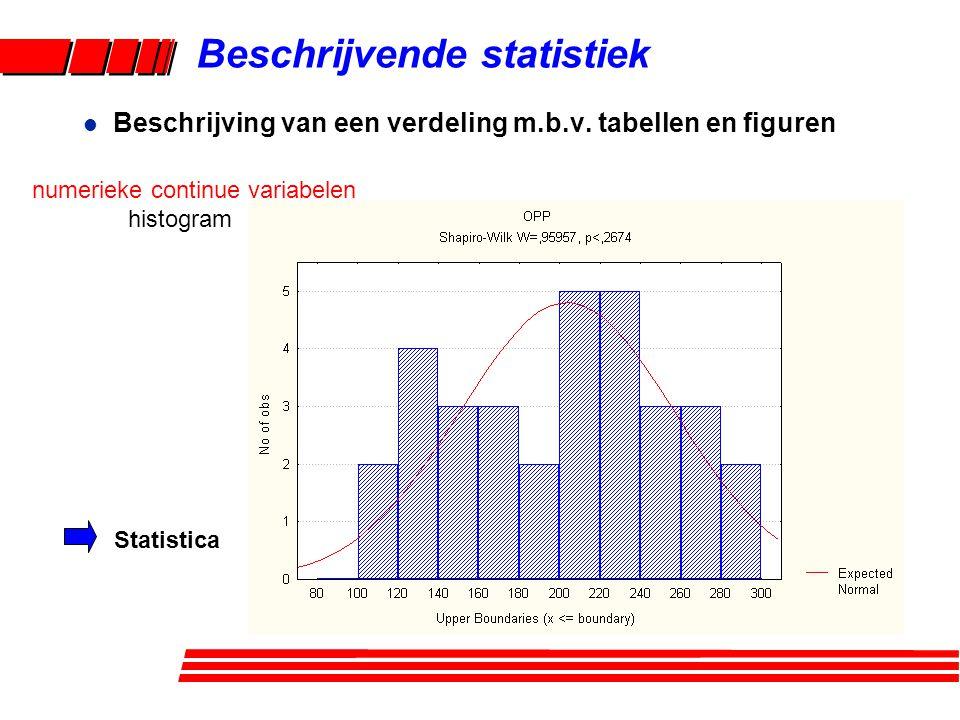 Beschrijvende statistiek l Beschrijving van een verdeling m.b.v. tabellen en figuren numerieke continue variabelen histogram Statistica