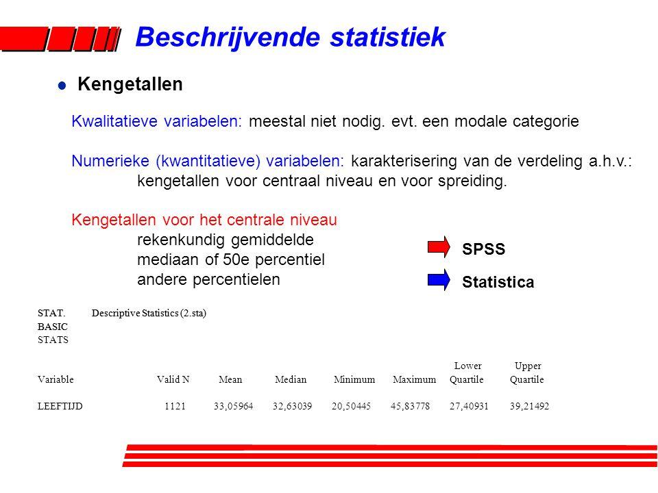 Beschrijvende statistiek l Kengetallen Kwalitatieve variabelen: meestal niet nodig. evt. een modale categorie Numerieke (kwantitatieve) variabelen: ka