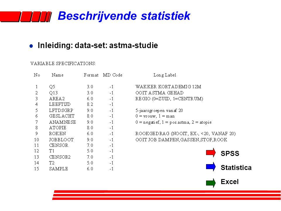 Beschrijvende statistiek l Inleiding: data-set: astma-studie SPSS Statistica Excel