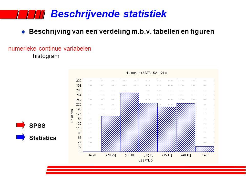 Beschrijvende statistiek l Beschrijving van een verdeling m.b.v. tabellen en figuren numerieke continue variabelen histogram SPSS Statistica
