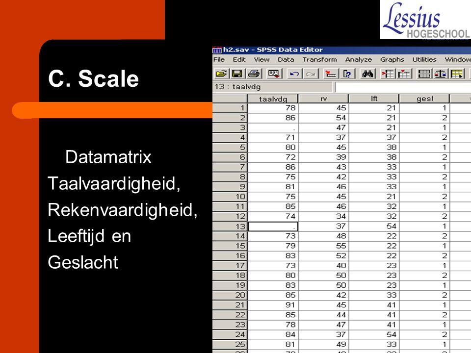 C. Scale Datamatrix Taalvaardigheid, Rekenvaardigheid, Leeftijd en Geslacht