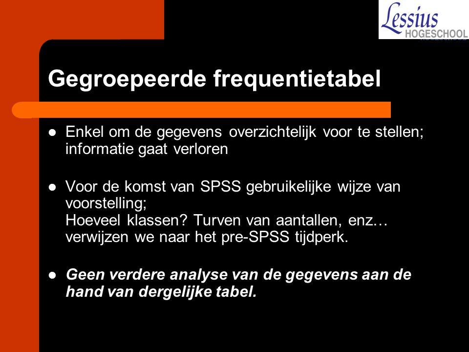 Gegroepeerde frequentietabel Enkel om de gegevens overzichtelijk voor te stellen; informatie gaat verloren Voor de komst van SPSS gebruikelijke wijze