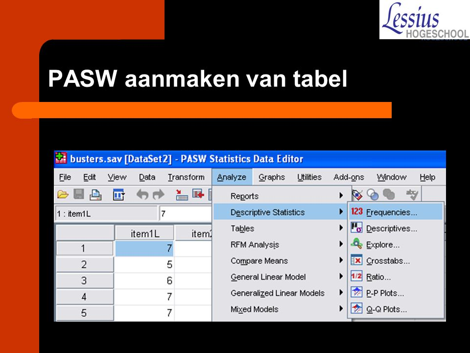 PASW aanmaken van tabel