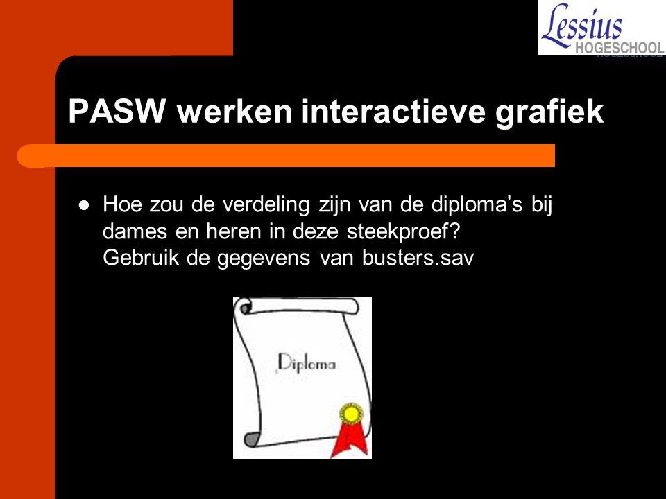 PASW werken interactieve grafiek Hoe zou de verdeling zijn van de diploma's bij dames en heren in deze steekproef? Gebruik de gegevens van busters.sav