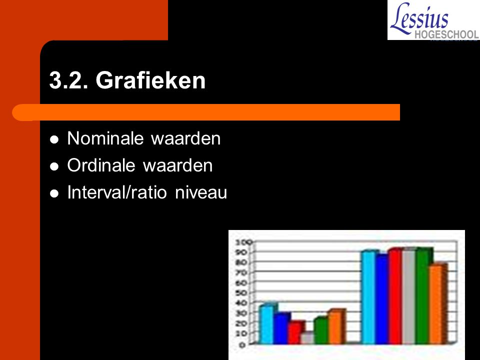 3.2. Grafieken Nominale waarden Ordinale waarden Interval/ratio niveau