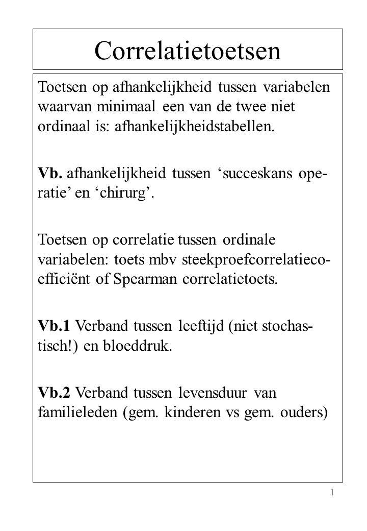 1 Correlatietoetsen Toetsen op afhankelijkheid tussen variabelen waarvan minimaal een van de twee niet ordinaal is: afhankelijkheidstabellen. Vb. afha