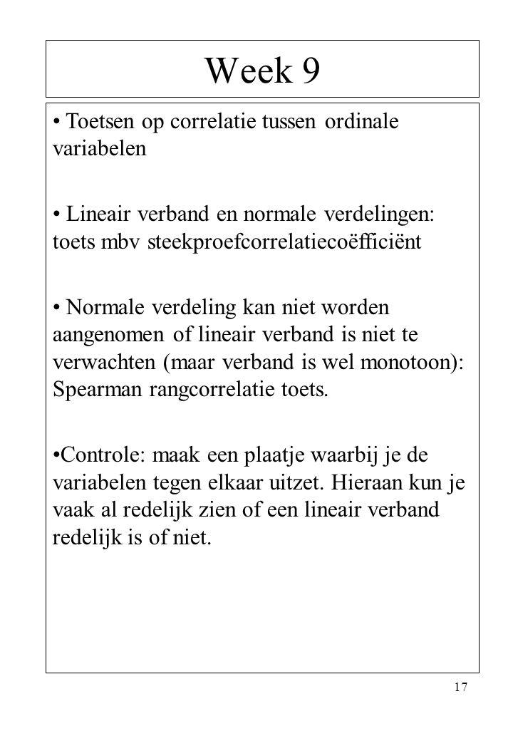 17 Week 9 Toetsen op correlatie tussen ordinale variabelen Lineair verband en normale verdelingen: toets mbv steekproefcorrelatiecoëfficiënt Normale v
