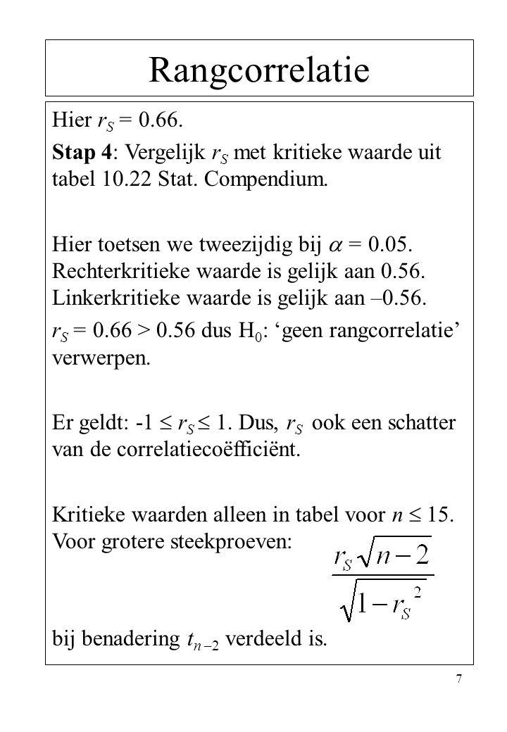 7 Rangcorrelatie Hier r S = 0.66. Stap 4: Vergelijk r S met kritieke waarde uit tabel 10.22 Stat. Compendium. Hier toetsen we tweezijdig bij  = 0.05.