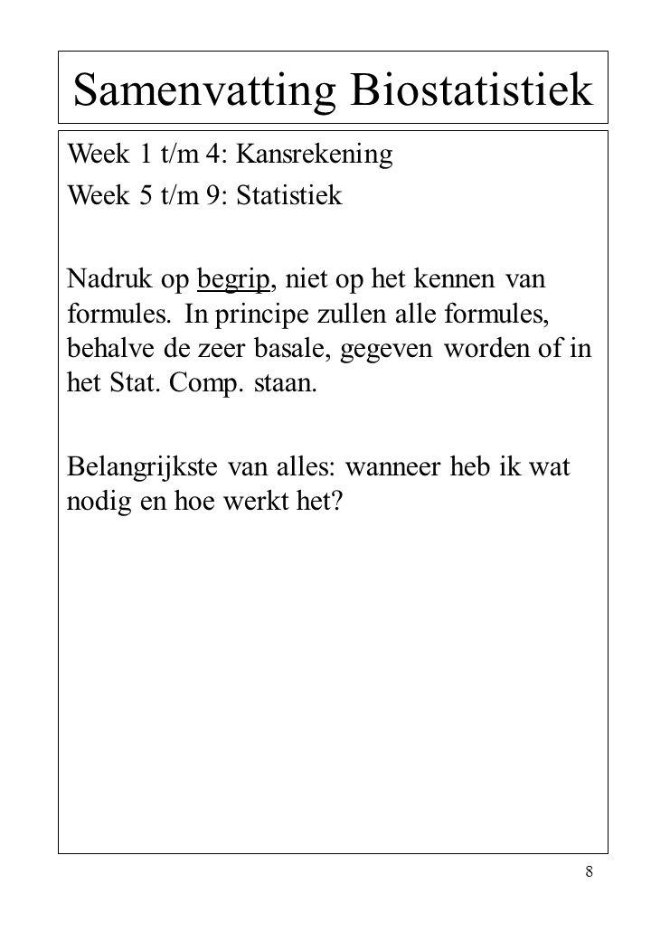 8 Samenvatting Biostatistiek Week 1 t/m 4: Kansrekening Week 5 t/m 9: Statistiek Nadruk op begrip, niet op het kennen van formules. In principe zullen