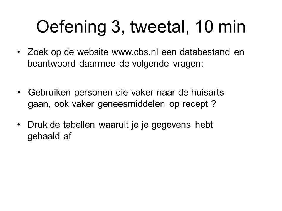 Oefening 3, tweetal, 10 min Zoek op de website www.cbs.nl een databestand en beantwoord daarmee de volgende vragen: Gebruiken personen die vaker naar de huisarts gaan, ook vaker geneesmiddelen op recept .