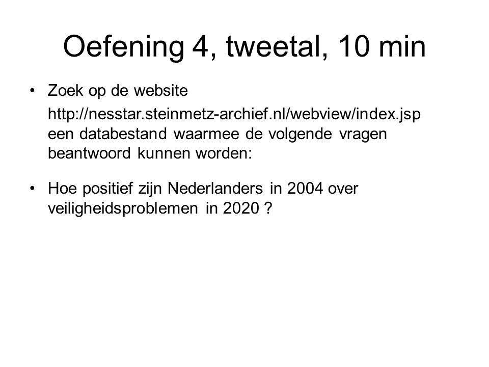 Oefening 4, tweetal, 10 min Zoek op de website http://nesstar.steinmetz-archief.nl/webview/index.jsp een databestand waarmee de volgende vragen beantwoord kunnen worden: Hoe positief zijn Nederlanders in 2004 over veiligheidsproblemen in 2020