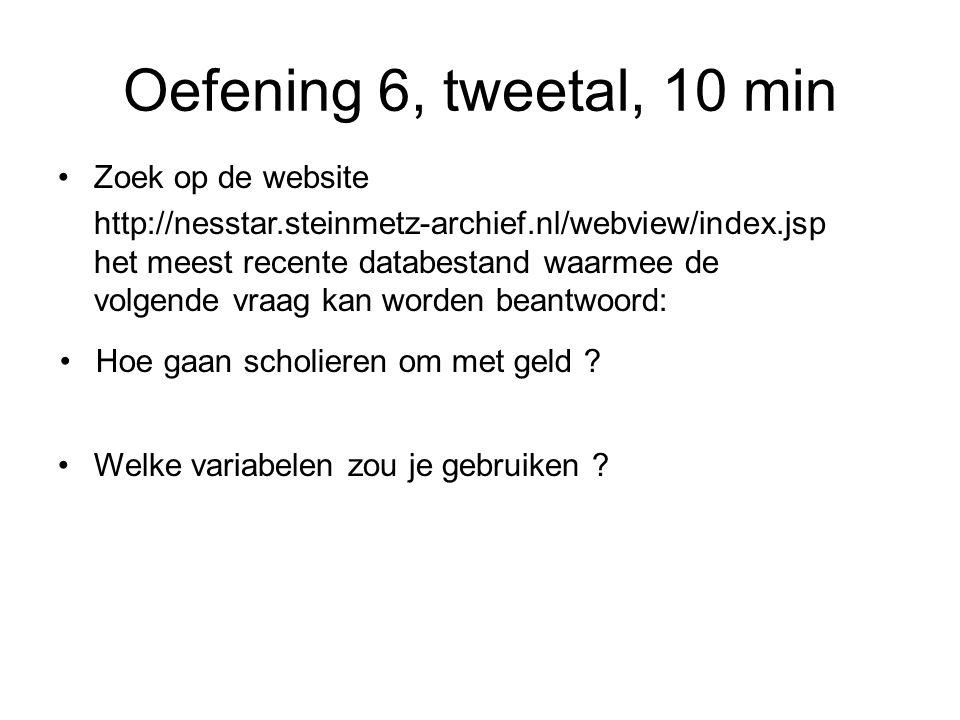 Oefening 6, tweetal, 10 min Zoek op de website http://nesstar.steinmetz-archief.nl/webview/index.jsp het meest recente databestand waarmee de volgende vraag kan worden beantwoord: Hoe gaan scholieren om met geld .