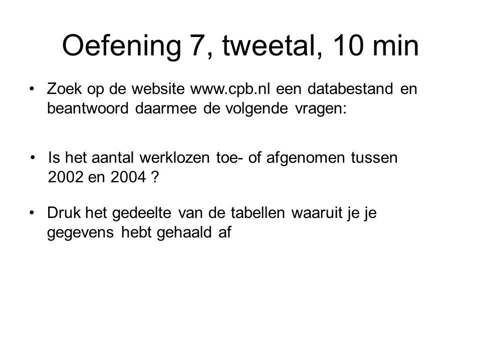 Oefening 7, tweetal, 10 min Zoek op de website www.cpb.nl een databestand en beantwoord daarmee de volgende vragen: Is het aantal werklozen toe- of afgenomen tussen 2002 en 2004 .