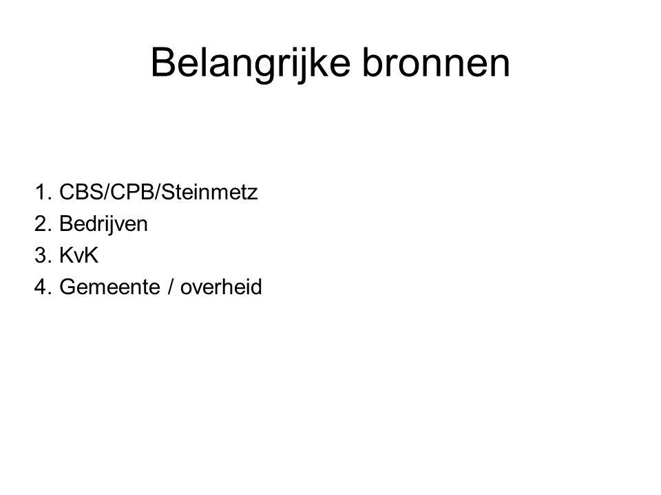 Belangrijke bronnen 1.CBS/CPB/Steinmetz 2.Bedrijven 3.KvK 4.Gemeente / overheid