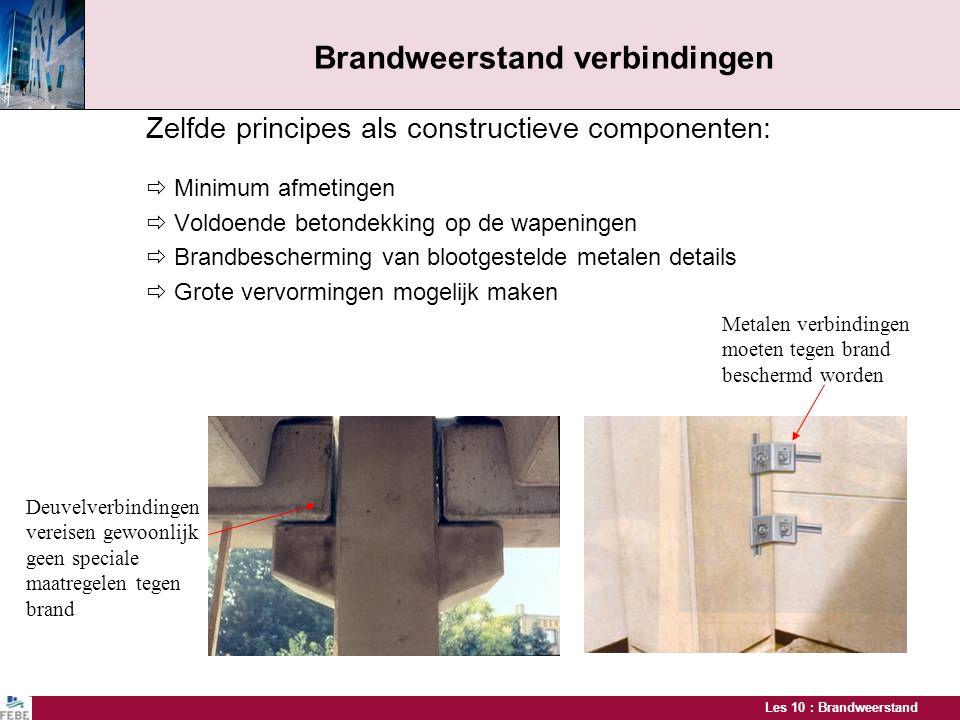 Les 10 : Brandweerstand Brandweerstand verbindingen Zelfde principes als constructieve componenten:  Minimum afmetingen  Voldoende betondekking op d