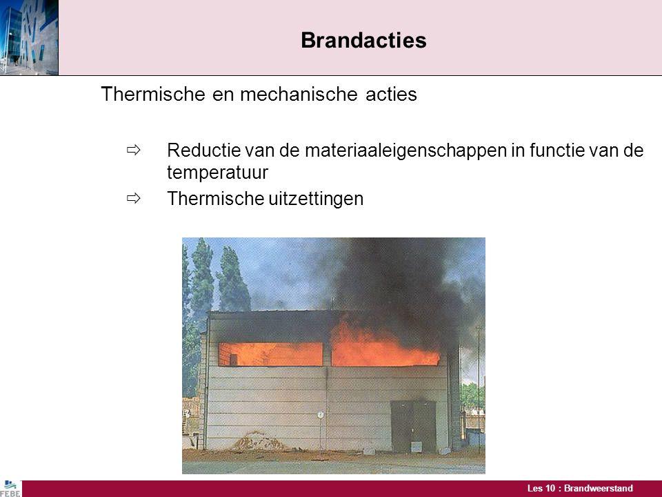 Les 10 : Brandweerstand Brandacties Thermische en mechanische acties  Reductie van de materiaaleigenschappen in functie van de temperatuur  Thermisc
