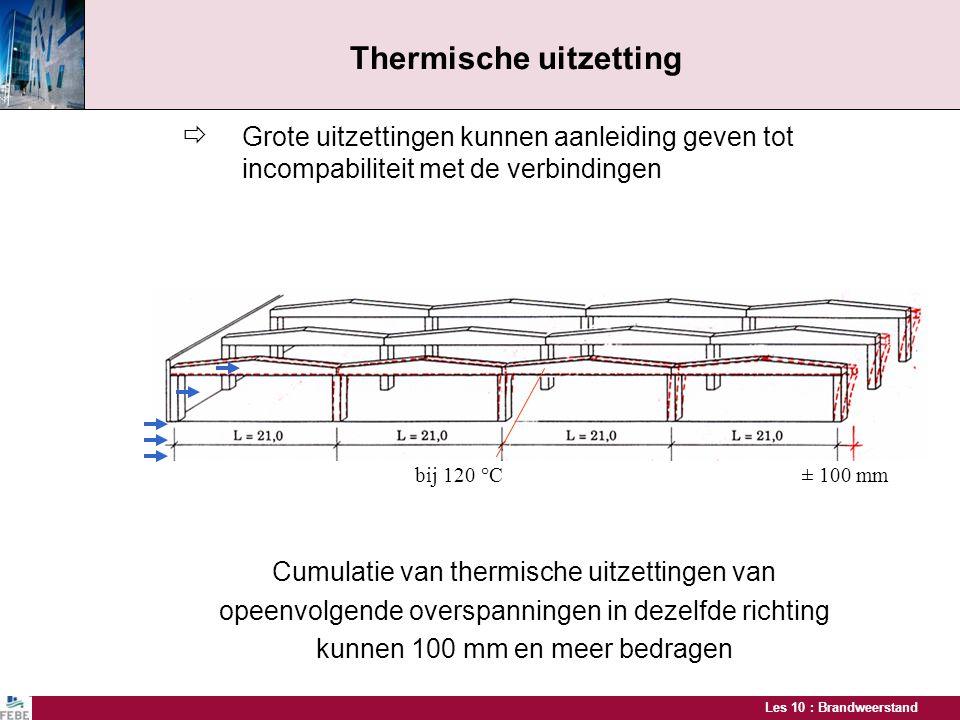 Les 10 : Brandweerstand  Grote uitzettingen kunnen aanleiding geven tot incompabiliteit met de verbindingen Cumulatie van thermische uitzettingen van