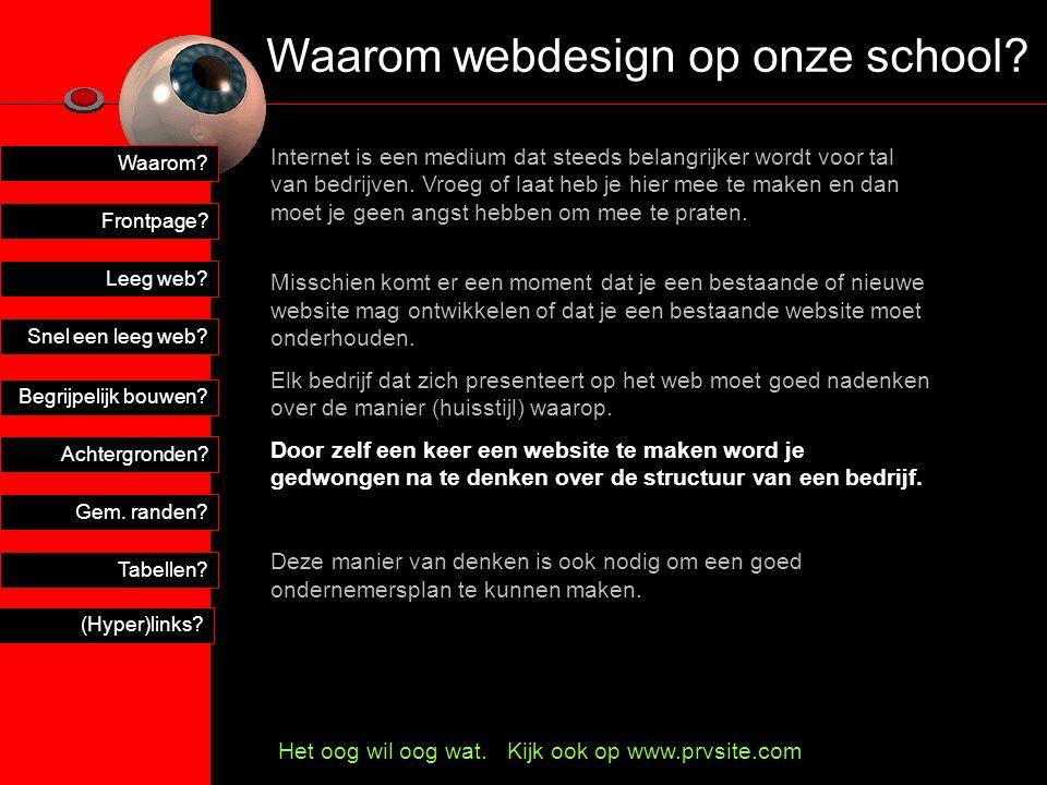 Snel een leeg web.Leeg web. Frontpage. Tabellen. Gem.