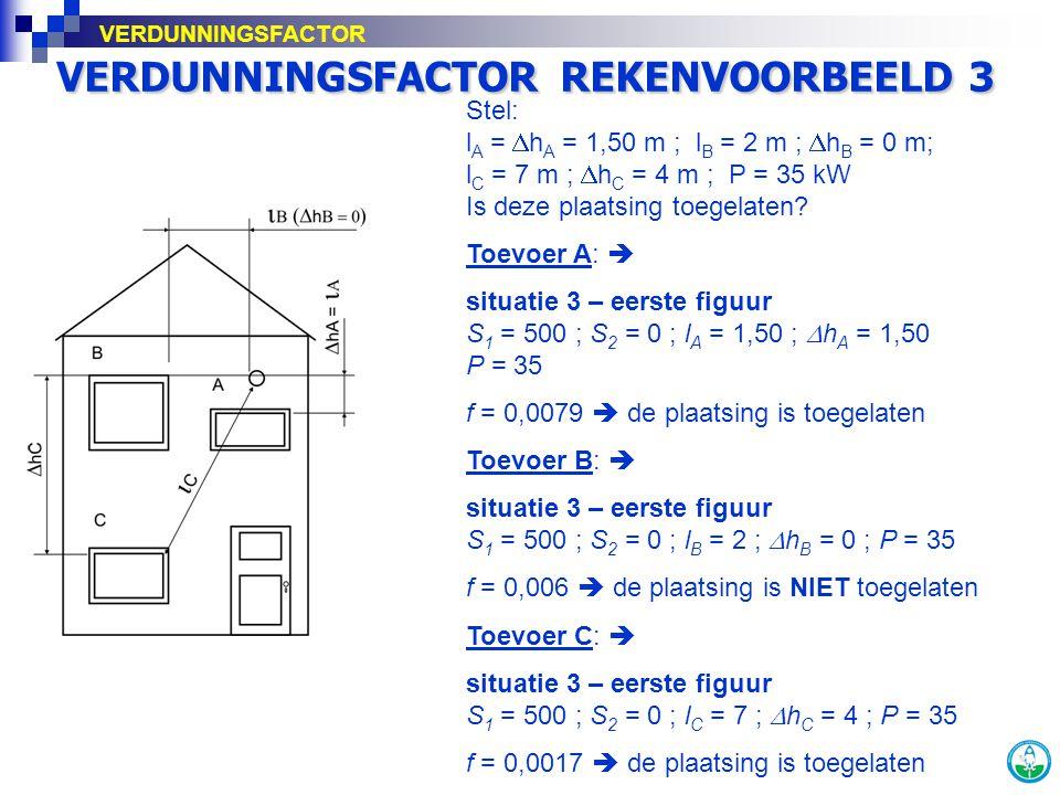 VERDUNNINGSFACTOR REKENVOORBEELD 3 Stel: l A =  h A = 1,50 m ; l B = 2 m ;  h B = 0 m; l C = 7 m ;  h C = 4 m ; P = 35 kW Is deze plaatsing toegela