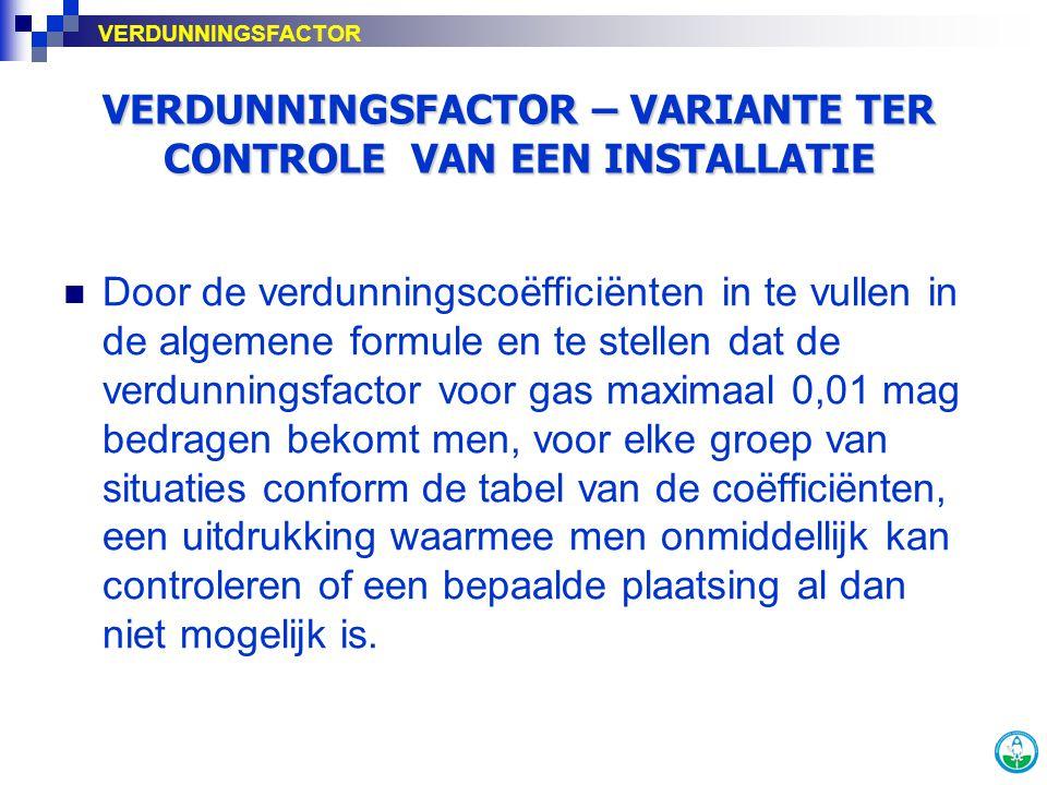 VERDUNNINGSFACTOR – VARIANTE TER CONTROLE VAN EEN INSTALLATIE VERDUNNINGSFACTOR Door de verdunningscoëfficiënten in te vullen in de algemene formule e