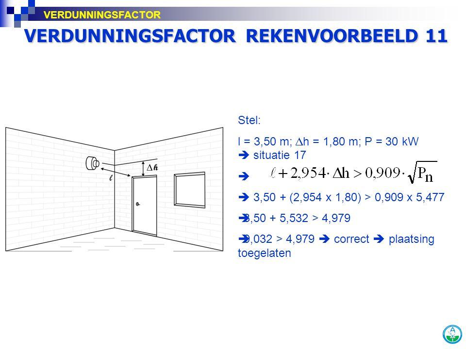 VERDUNNINGSFACTOR REKENVOORBEELD 11 Stel: l = 3,50 m;  h = 1,80 m; P = 30 kW  situatie 17   3,50 + (2,954 x 1,80) > 0,909 x 5,477  3,50 + 5,532 >
