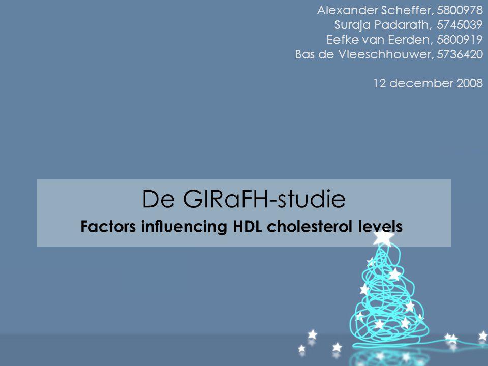 Resultaten aanpak 2 Bepaling normale verdeling Man Vrouw SkewnessKurtosisSkewnessKurtosis HDL-Cholesterol0,2380,071,0954,755 LDL-Cholesterol0,514-0,1740,6730,767 Triglyceride0,6340,2850,455-0,033 Leeftijd0,3590,293-0,1270,686