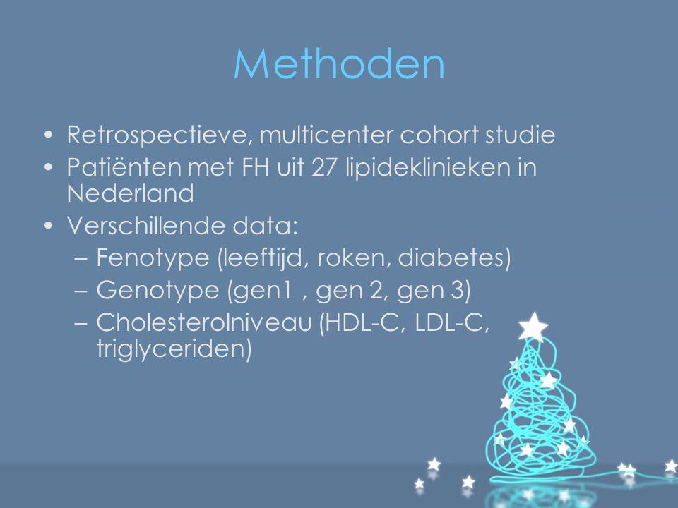 Methoden Retrospectieve, multicenter cohort studie Patiënten met FH uit 27 lipideklinieken in Nederland Verschillende data: –Fenotype (leeftijd, roken