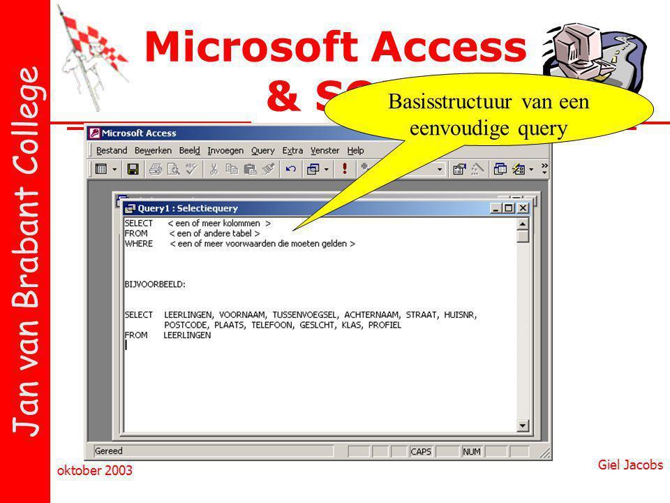 Jan van Brabant College oktober 2003 Giel Jacobs Microsoft Access & SQL Basisstructuur van een eenvoudige query