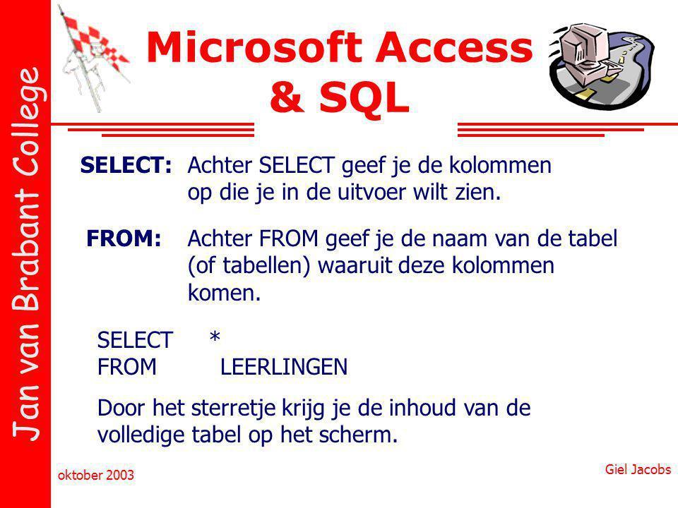 Jan van Brabant College oktober 2003 Giel Jacobs Microsoft Access & SQL SELECT:Achter SELECT geef je de kolommen op die je in de uitvoer wilt zien.