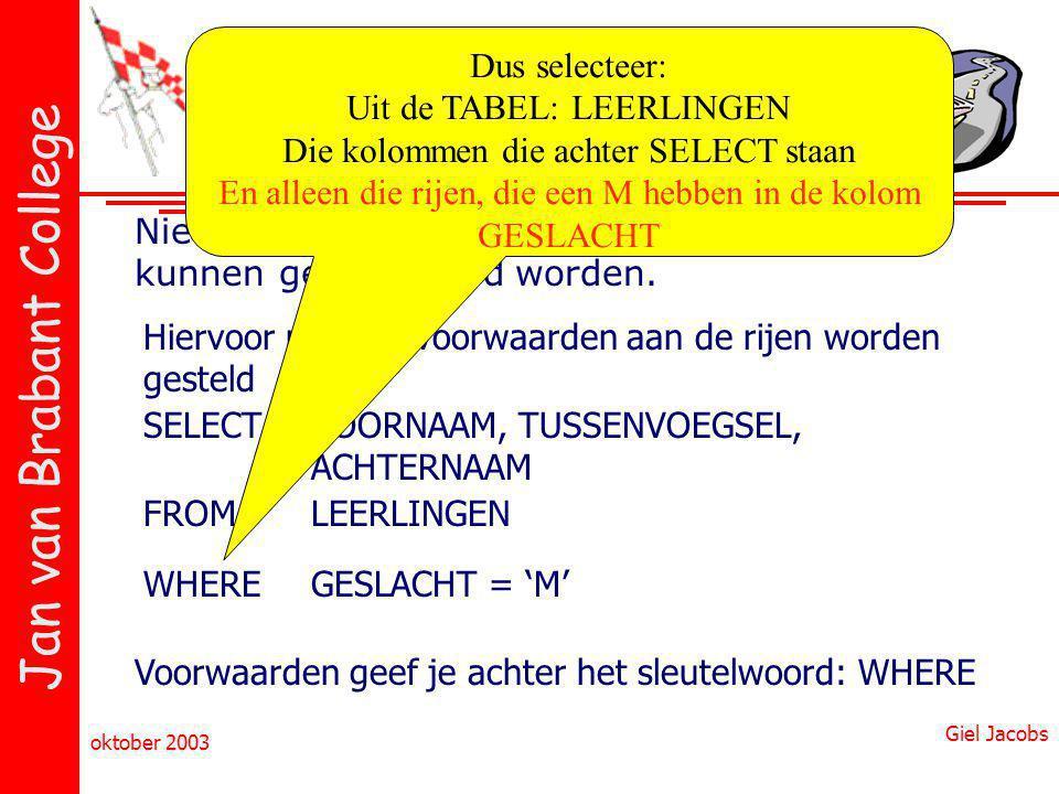Jan van Brabant College oktober 2003 Giel Jacobs Microsoft Access & SQL Niet alleen kolommen, maar ook rijen kunnen geselecteerd worden. Hiervoor moet