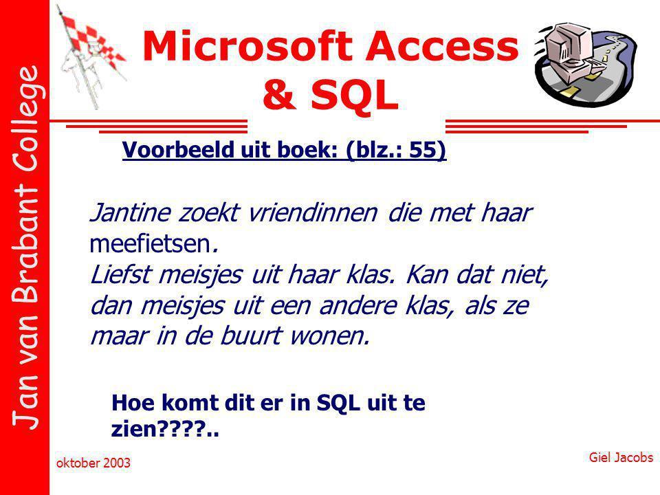 Jan van Brabant College oktober 2003 Giel Jacobs Microsoft Access & SQL Voorbeeld uit boek: (blz.: 55) Jantine zoekt vriendinnen die met haar meefietsen.