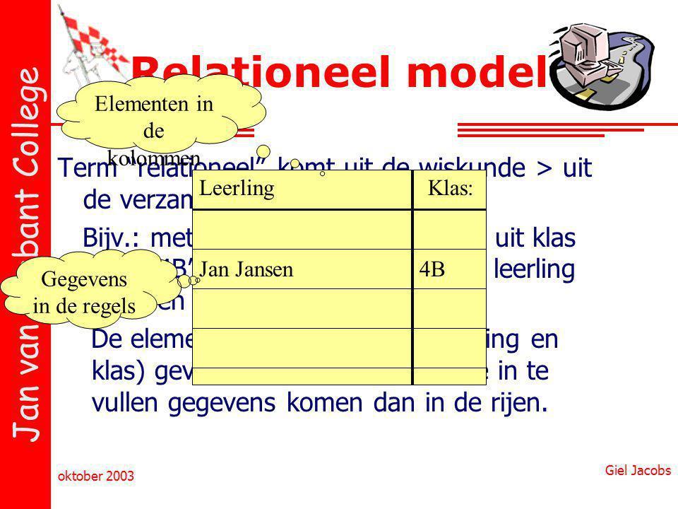 """Jan van Brabant College oktober 2003 Giel Jacobs Term """"relationeel"""" komt uit de wiskunde > uit de verzamelingenleer. Bijv.: met zinnen als: """"Leerling"""