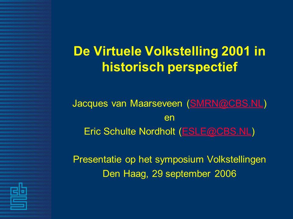 De Virtuele Volkstelling 2001 in historisch perspectief Jacques van Maarseveen (SMRN@CBS.NL)SMRN@CBS.NL en Eric Schulte Nordholt (ESLE@CBS.NL)ESLE@CBS.NL Presentatie op het symposium Volkstellingen Den Haag, 29 september 2006