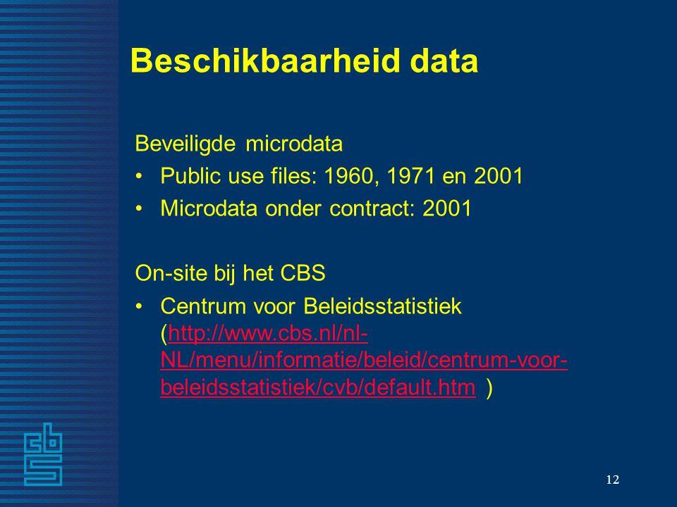 12 Beschikbaarheid data Beveiligde microdata Public use files: 1960, 1971 en 2001 Microdata onder contract: 2001 On-site bij het CBS Centrum voor Beleidsstatistiek (http://www.cbs.nl/nl- NL/menu/informatie/beleid/centrum-voor- beleidsstatistiek/cvb/default.htm )http://www.cbs.nl/nl- NL/menu/informatie/beleid/centrum-voor- beleidsstatistiek/cvb/default.htm