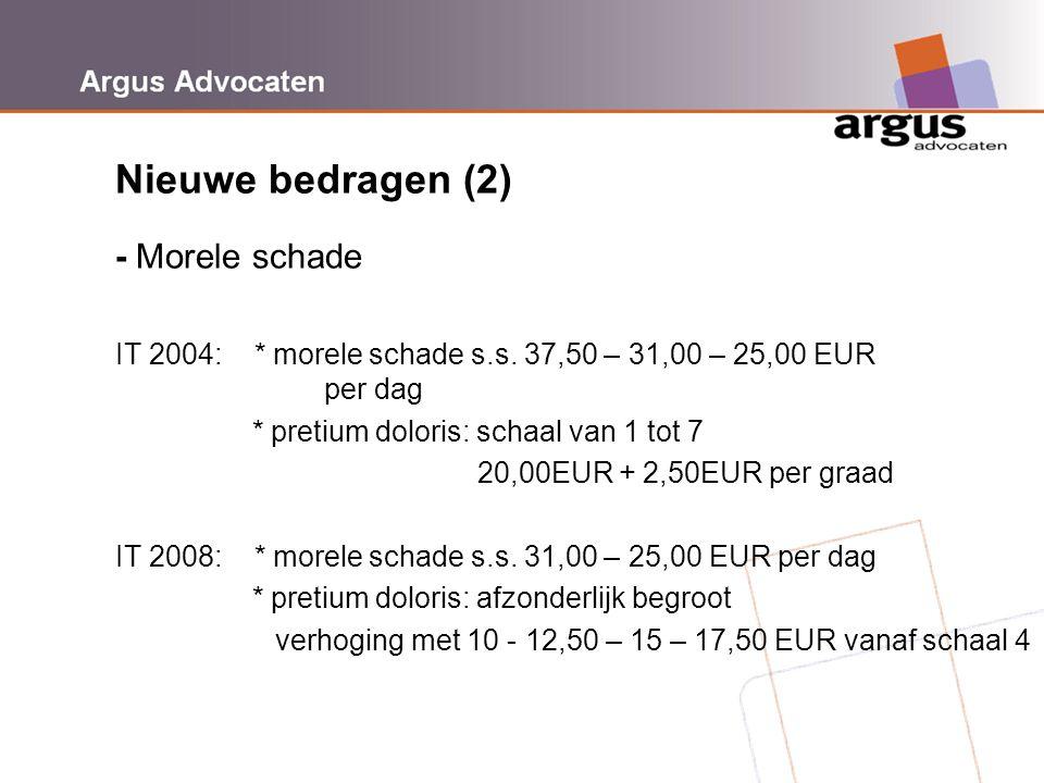 Argus Advocaten Nieuwe bedragen (2) - Morele schade IT 2004: * morele schade s.s. 37,50 – 31,00 – 25,00 EUR per dag * pretium doloris: schaal van 1 to