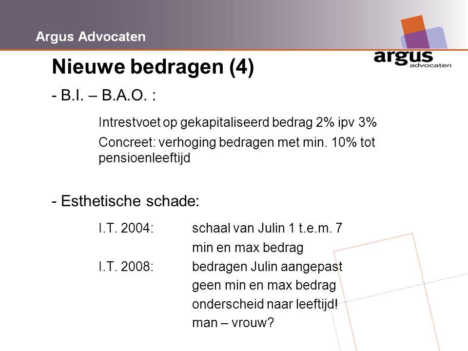 Argus Advocaten Nieuwe bedragen (4) - B.I. – B.A.O. : Intrestvoet op gekapitaliseerd bedrag 2% ipv 3% Concreet: verhoging bedragen met min. 10% tot pe