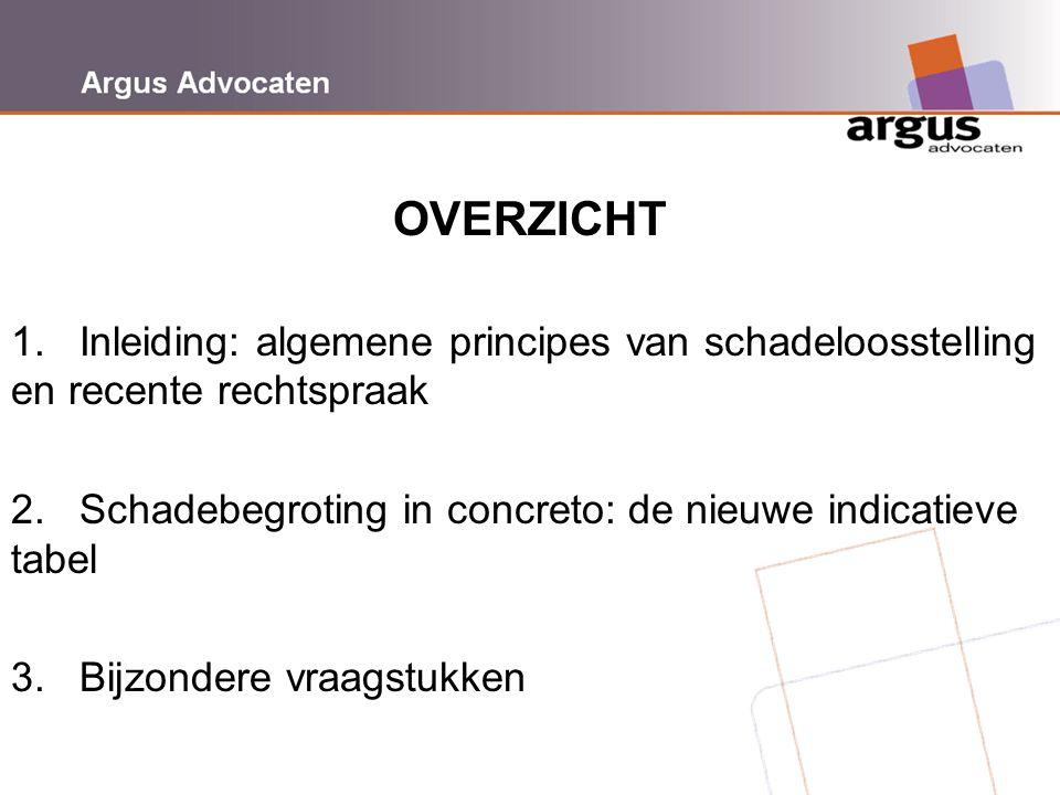 Argus Advocaten OVERZICHT 1. Inleiding: algemene principes van schadeloosstelling en recente rechtspraak 2. Schadebegroting in concreto: de nieuwe ind