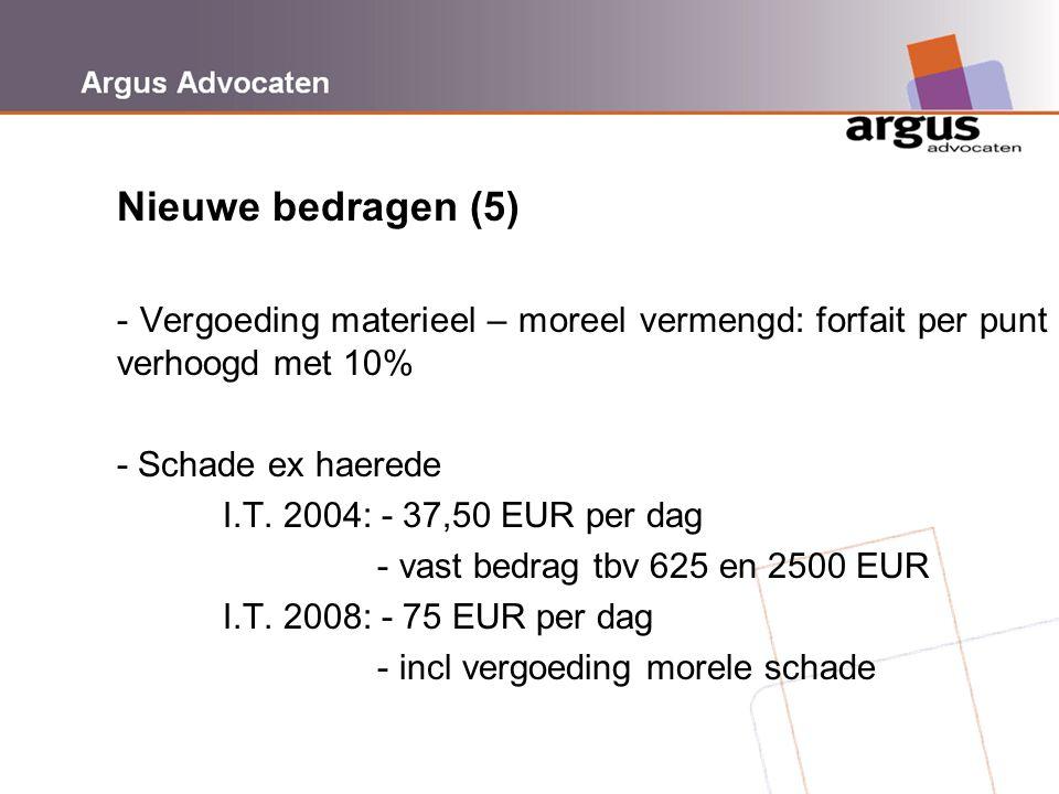 Argus Advocaten Nieuwe bedragen (5) - Vergoeding materieel – moreel vermengd: forfait per punt verhoogd met 10% - Schade ex haerede I.T. 2004: - 37,50