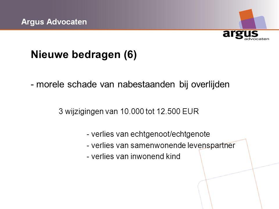 Argus Advocaten Nieuwe bedragen (6) - morele schade van nabestaanden bij overlijden 3 wijzigingen van 10.000 tot 12.500 EUR - verlies van echtgenoot/e