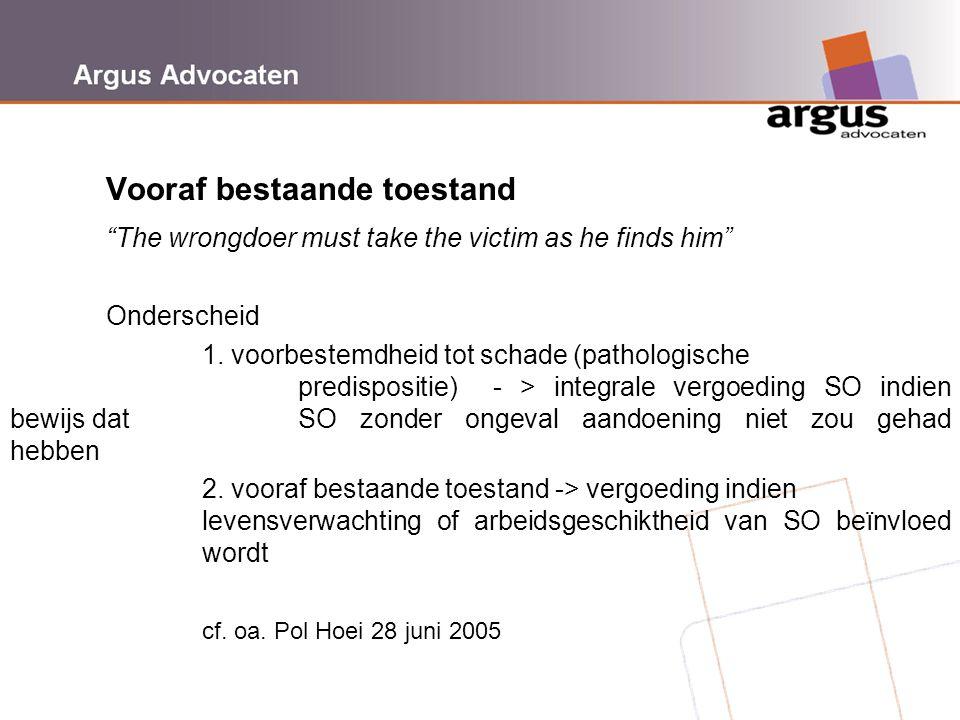 """Argus Advocaten Vooraf bestaande toestand """"The wrongdoer must take the victim as he finds him"""" Onderscheid 1. voorbestemdheid tot schade (pathologisch"""