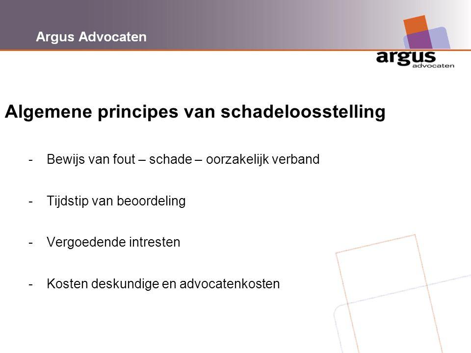 Argus Advocaten Algemene principes van schadeloosstelling - Bewijs van fout – schade – oorzakelijk verband - Tijdstip van beoordeling - Vergoedende in