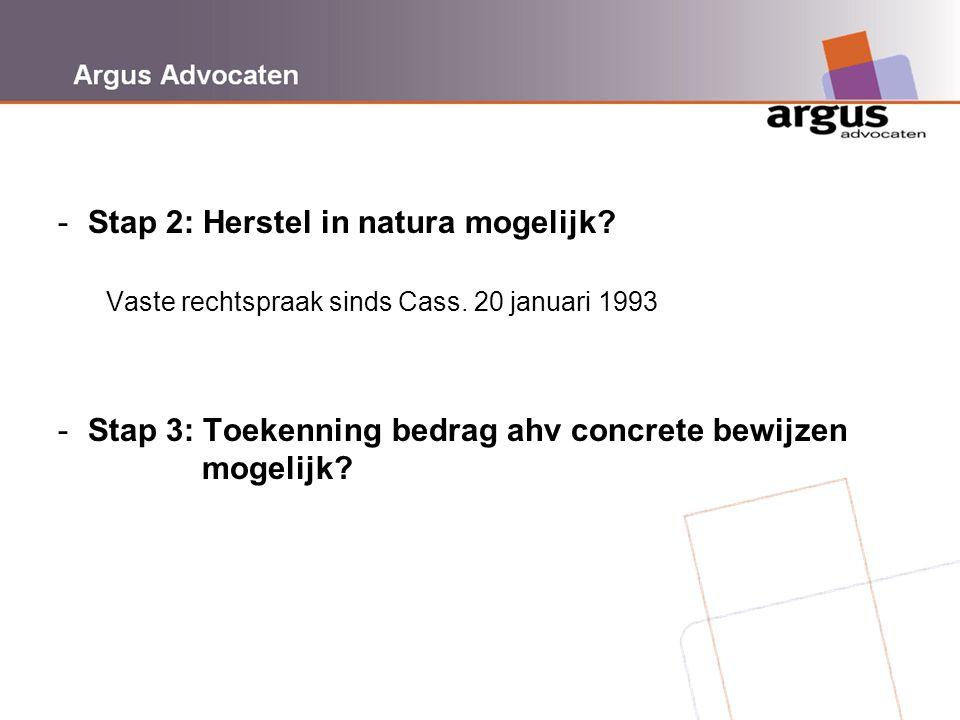 Argus Advocaten -Stap 2: Herstel in natura mogelijk? Vaste rechtspraak sinds Cass. 20 januari 1993 -Stap 3: Toekenning bedrag ahv concrete bewijzen mo
