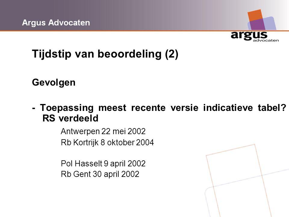 Argus Advocaten Tijdstip van beoordeling (2) Gevolgen - Toepassing meest recente versie indicatieve tabel? RS verdeeld Antwerpen 22 mei 2002 Rb Kortri